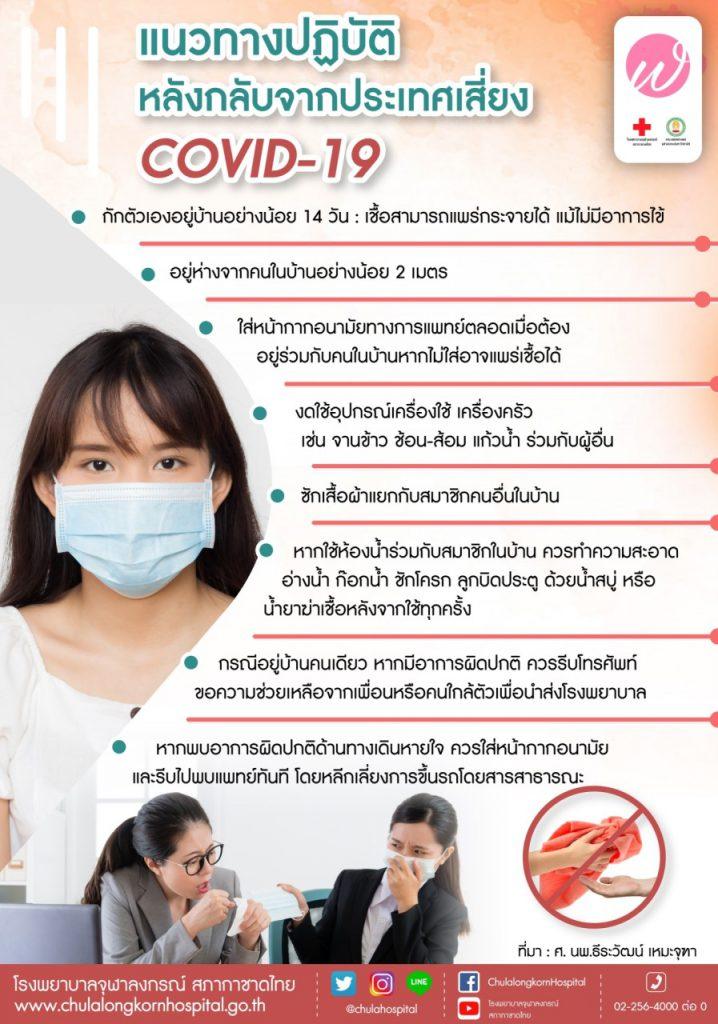 แนวทางปฏิบัติหลังกลับจากประเทศเสี่ยง COVID-19